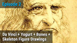 Da Vinci + Yogurt + Bones + Skeleton Figure Drawings